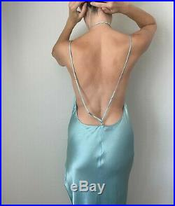 100% Silk Vintage Light Blue Victoria's Secret Long Gown Slip Dress Nightie Medi