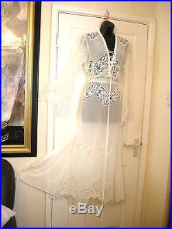 12 Asos White Sand Semi Sheer Chiffon Maxi Dress + Slip Wedding 20's 30s Vintage