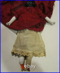 12 Germany flat top china head in orig dark red cotton dress & cotton slip