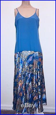 12 L Liquid Satin/Sheer 3 Pc Maxi Dress Bow Blouse Slip Vintage The Silk Farm