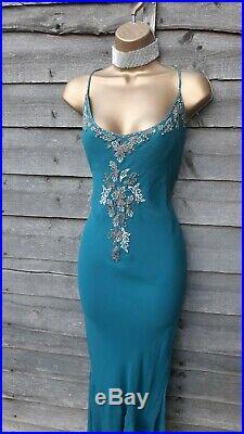 14 UK KAREN MILLEN Vintage Teal Blue Beaded Bias Cut Summer Maxi Long Slip Dress
