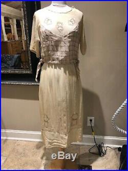 1900s Antique linen Gauze Slip/Dress Edwardian Crochet Appliqué Primitive Button