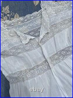 1900s Edwardian German Corset Cover Slip Cotton Lace Antique