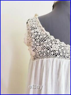 1910s Edwardian Chemise Nightgown Slip Dress Cream Cotton Beige Crochet Lace