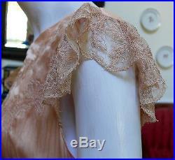 1920-30`s Peach Silk Bias cut Slip Dress / Negligee Embroidered Butterflies WOW