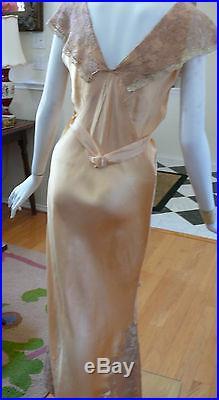 1920-30`s Peach Silk Bias cut Slip Dress / Negligee Mauve Lace Belted