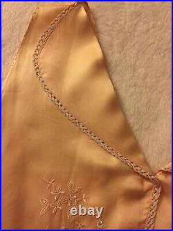 1920-30s SILK Bias-cut Slip-Dress NEGLIGEE Nightgown Apricot EMBROIDERED Sz S