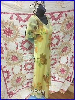 1920 Silk Chiffon Flapper Dress Sheer Yellow Flowers Has Under Slip Handmade