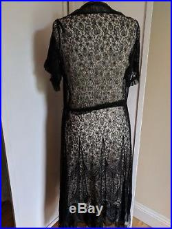 1920's True Vintage Black Lace Dress With Hand Made Satin Slip Size Med/Lg OOAK