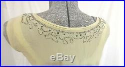 1920s Antique Chartreuse Green Silk Beaded Dress XSmall Drop Waist With Slip
