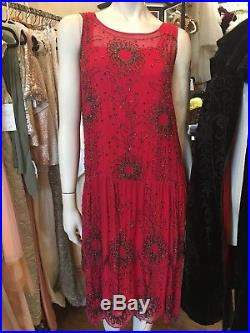 1920s Antique red silk with Glass Beads flapper Art Deco dress and slip Sz S/M