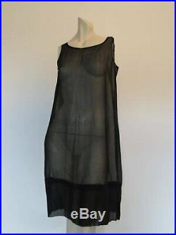 1920s Beaded Flapper Dress of Black Silk Chiffon With Slip Bust to 91 cm