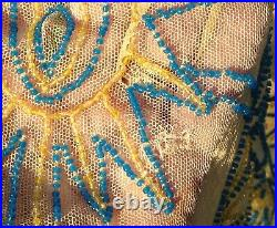 1920s Elaborately Beaded Art Deco Net Dress with Custom Made Slip