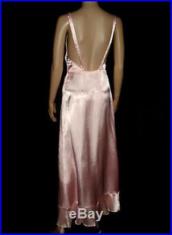 1920s Gatsby Pink Ruffled Organdy Full Length Gown Dress With Slip