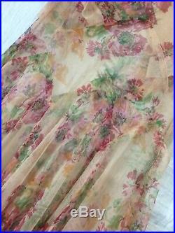 1920s Vintage Antique Romantic Mesh Floral Dress Matching Slip