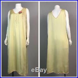 1920s Yellow Silk Sheer Sleeveless Flapper Slip Dress Embroidered Lingerie M