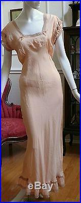 1930`s Peach Pink Silk Long Bias cut Slip Dress / Negligee WOW