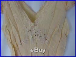 1930's Vintage Peach Art Deco Silk and Lace Honeymoon Dress withSlip