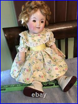 1930's vintage 18 IDEAL Shirley Temple doll with dress & slip composition