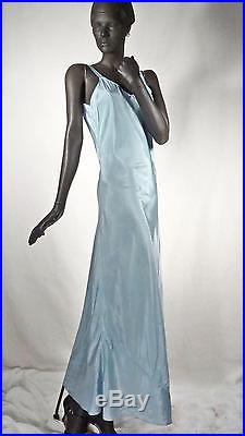 1930s 1940s Deco Evening Dress Mahogany Brown Lace With Blue Slip Sz 6