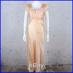 1930s 1940s Slip Dress nightgown peach satin flower embroidery peasant stye M
