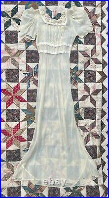 1930s 30s Sheer Ruffled Puff Sleeve Slip Dress