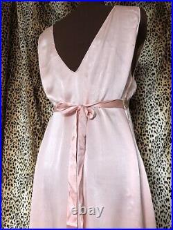 1930s / 40s Silk Bias Cut Slip Dress / Nightgown Plus Size XL Hollywood Glam