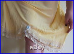 1930s Art Deco Yellow Nightgown Slip Dress Bias Cut with Cream Lace Negligee M