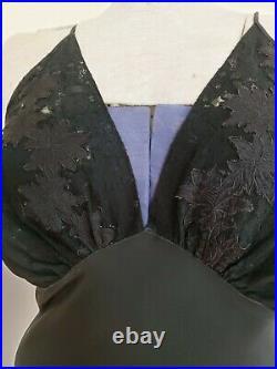 1930s Black Slip Dress Nightgown Negligee Lingeris Bias Cut Rayon Lace Bodice M