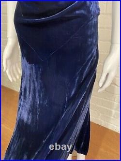 1930s Midnight Blue Silk Velvet Slip Dress Gown True Vintage Evening Size 6 8