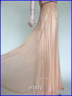 1930s Net Lace Gown Pale Peach With Slipdress See Through Full Length S/M