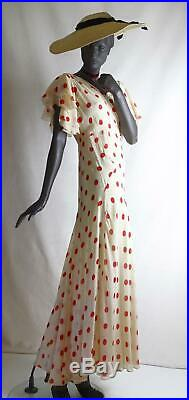 1930s Red Polka Dot Deco Silk Chiffon Evening Dress with Slip Sz 8-10 #1567AB