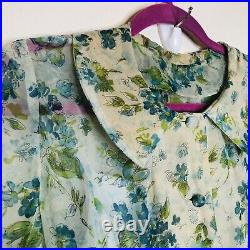 1930s Sheer Floral Day Dress with Chemise Slip Women Small Long Maxi Longsleeve