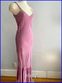 1930s Vintage Lilac Purple Eyelet Lace Long Gown with Matching Crepe Bias Slip