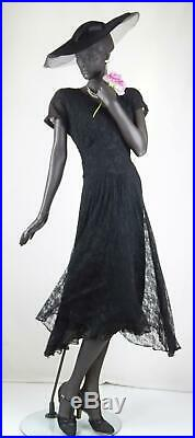 1930s or 1940s Black Lace Deco Evening Dress with Slip Sz 8-10 #1565AB