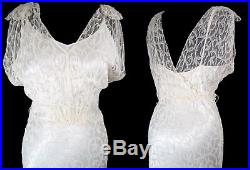 1940's LONG LACE DRESS Slip Bias Cut 1930's WWII Wedding Gown Pin Up Vintage S