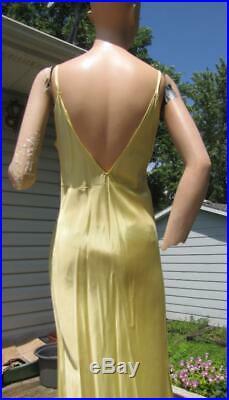 1940's Yellow Organdy Flocked Maxi Dress W Slip 26w