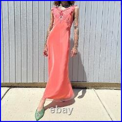 1940s 40s Coral Net Slip Dress