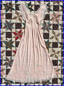 1940s 40s Pink Bow Slip Dress