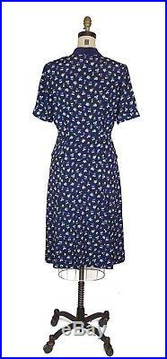 1940s Dress Barbell Novelty Print Rayon Dress Navy Blue With Matching Slip