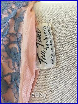 1950's VTG Fitted Wiggle Lace Wedding Bridesmaid DressBlue Peach Slip Sash Med