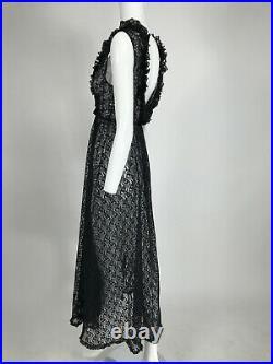 1950s Black Lace Plunge Négligée Night Gown Dress Caftan Lounge Pinup