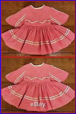 1950s Dress MARTHAS MINIATURES Bell Checkered Red Lace Slip VINTAGE 12 24 Mths