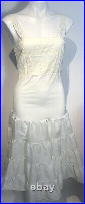 1950s Sheer Flocked Nylon Dress withSlip