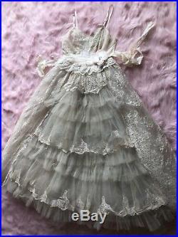 1950s Vintage Deconstructed Slip Prom Dress Boho Wedding Lolita Betsey Johnson