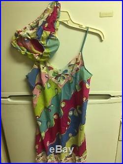 1960 Mod Psychedelic Emilio Pucci Negligee, Slip Dress Panties Set. 2 Piece 32