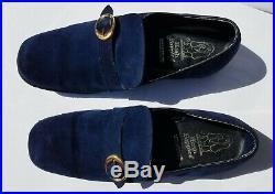 1960s -70s MOD Vintage Mens BLUE SUEDE LOAFER Hush Puppies Slip On Dress