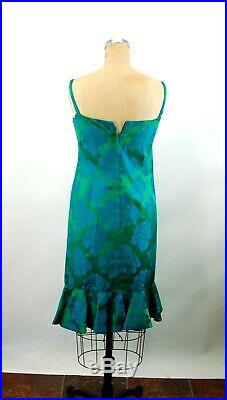 1960s dress damask blue green rose floral slip dress with ruffle Size S/M