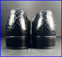 1970s NETTLETON VTG #27703 GENUINE SNAKESKIN BLACK SLIP-ON LOAFERS (8 C/A)