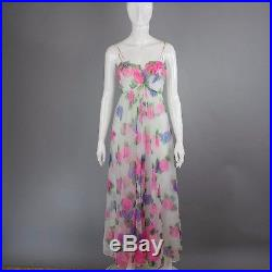 1970s Sheer Slip Dress floral gown flowing ethereal 3D flowers Festival fairy SM